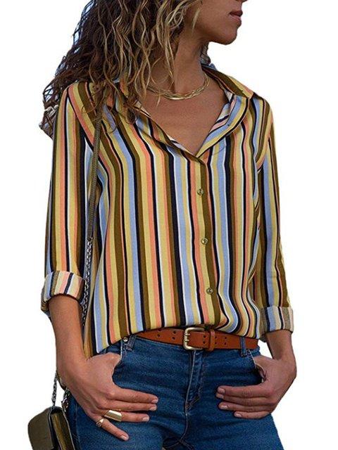Shirt Collar Casual Striped Plus Size Shirt