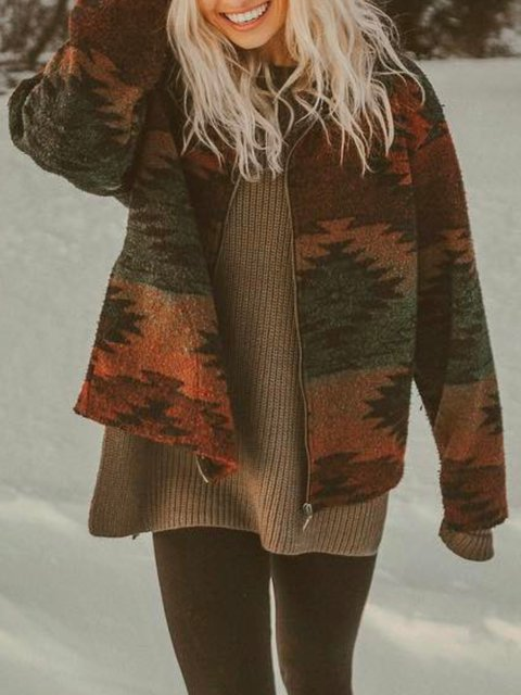 Vintage Floral-print Tribal Casual Outerwear