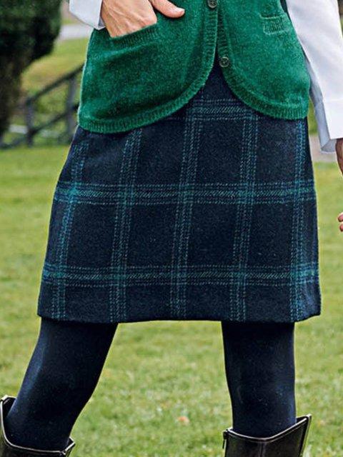 Multicolor Cotton-Blend Plaid Casual Skirts