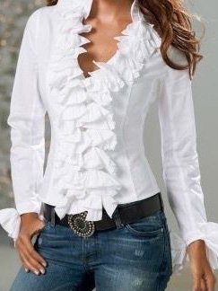 White Plain Casual Turtleneck Long Sleeve Shirts & Tops