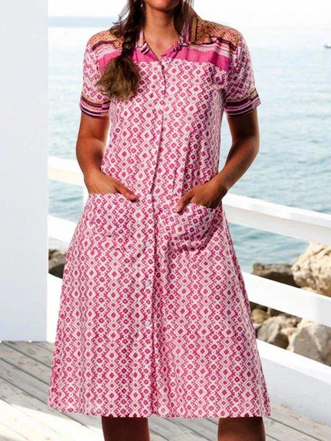Women Pockets Buttoned Shirt Collar Summer Dresses