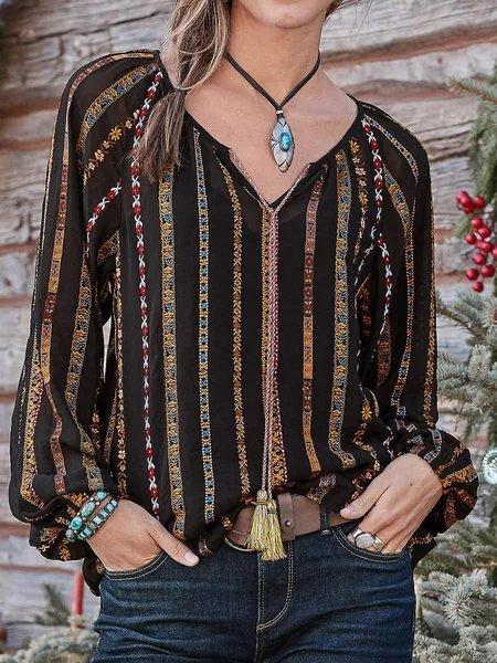 Black Cotton-Blend Casual Shirts & Tops