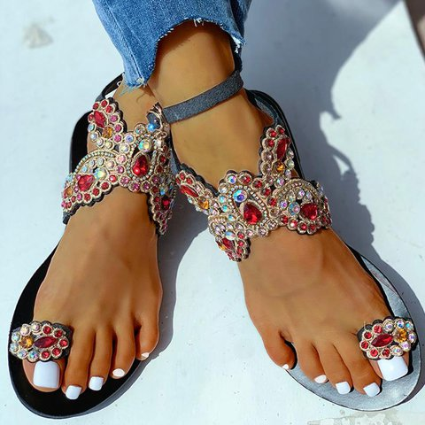 Women Boho Toe Ring Studded Flower Pattern Flat Sandals