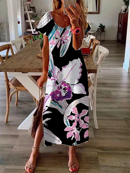 Hem open ladies ladies dress butterfly print dress