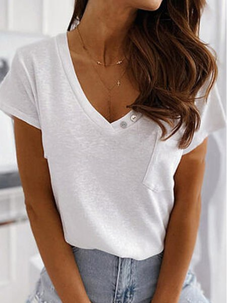 White Casual Round Neck Shirts & Tops
