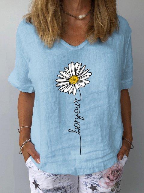 Short Sleeve Shift Floral-Print Shirts & Tops