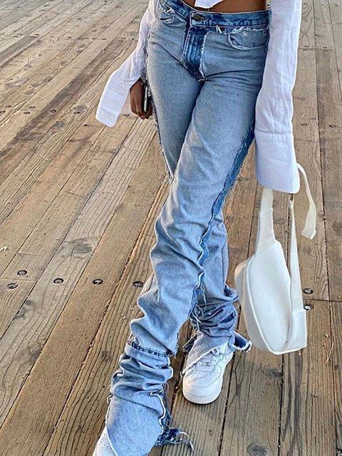 European and American style 2020 fashion women's new high-waist slim irregular street shooting net red all-match jeans