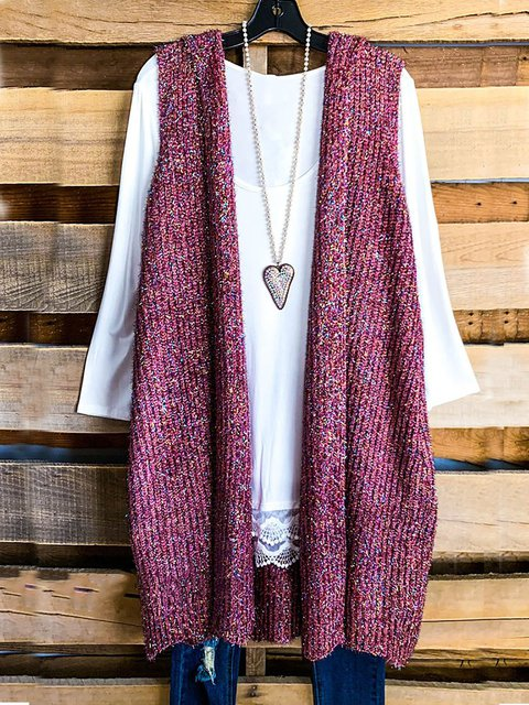 Bright Solid Color Loose Hooded Vest