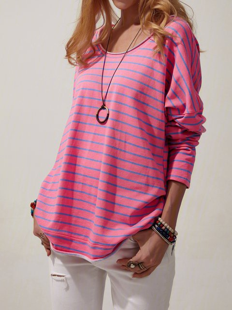 Red Cotton Stripes Long Sleeve Shirts & Tops