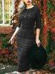 Plaid Sweet 3/4 Sleeve Peter Pan Collar Dresses