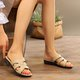 Casual Open Toe Leather Beach Slippers