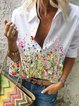 White Short Sleeve Printed Cotton Shirts & Tops