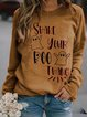 Crew Neck Long Sleeve Letter Cotton-Blend Shirts & Tops
