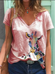 Casual Plus Size Printed Tee Shirts Tops